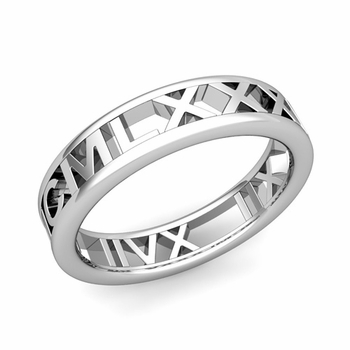 Legacy Roman Numeral Wedding Ring Band in 14k White or Yellow Gold, 5mm