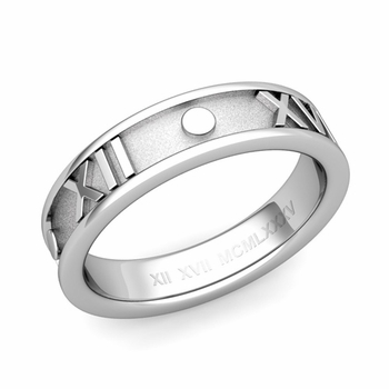 Classic Roman Numeral Wedding Ring Band in 14k White or Yellow Gold, 5mm