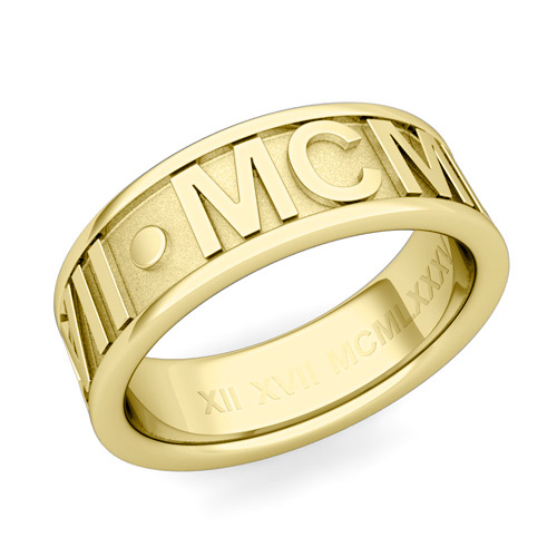 Clic Roman Numeral Wedding Ring Band In 18k White Or Yellow Gold 7mm