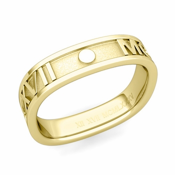 Square Roman Numeral Wedding Band in 18k Gold, 5mm
