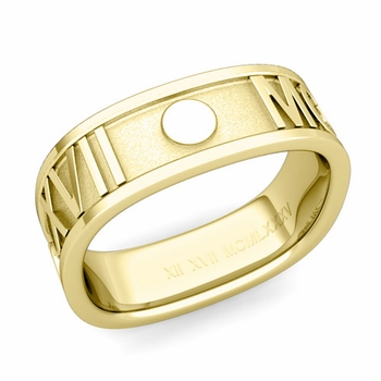 Square Roman Numeral Wedding Band in 18k Gold, 7mm