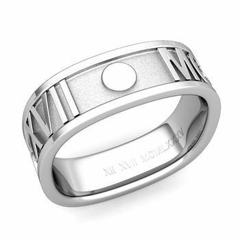 Square Roman Numeral Wedding Band in Platinum, 7mm