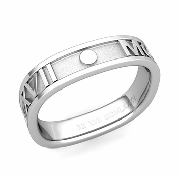 Square Roman Numeral Wedding Band in Platinum, 5mm