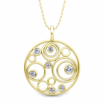 Diamond Circle Pendant in 18k Gold Drop Necklace