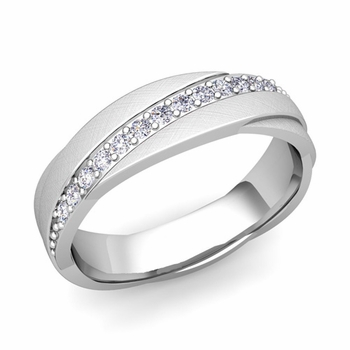 Diamond Wedding Anniversary Ring in 14k Gold Brushed Rolling Wedding Band, 6mm