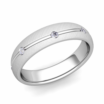Diamond Wedding Anniversary Ring in 14k Gold Brushed Wave Wedding Band, 5mm