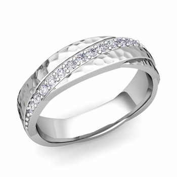 Diamond Wedding Anniversary Ring in 14k Gold Hammered Rolling Wedding Band, 6mm