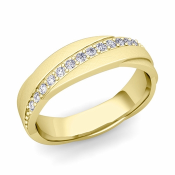 Diamond Wedding Anniversary Ring in 18k Gold Brushed Rolling Wedding Band, 6mm