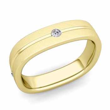 Diamond Wedding Anniversary Ring in 18k Gold Brushed Square Wedding Band, 5mm