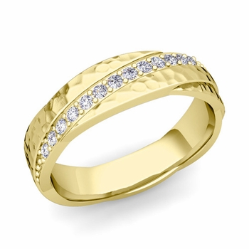 Diamond Wedding Anniversary Ring in 18k Gold Hammered Rolling Wedding Band, 6mm