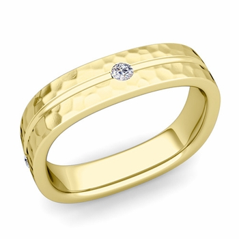 Diamond Wedding Anniversary Ring in 18k Gold Hammered Square Wedding Band, 5mm