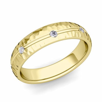 Diamond Wedding Anniversary Ring in 18k Gold Hammered Wave Wedding Band, 5mm