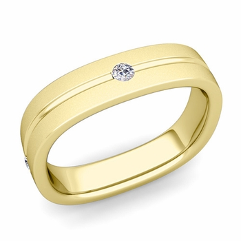 Diamond Wedding Anniversary Ring in 18k Gold Satin Square Wedding Band, 5mm