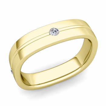 Diamond Wedding Anniversary Ring in 18k Gold Shiny Square Wedding Band, 5mm