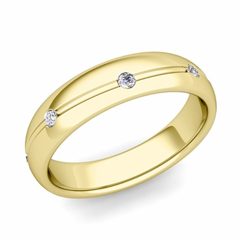 Diamond Wedding Anniversary Ring in 18k Gold Shiny Wave Wedding Band, 5mm