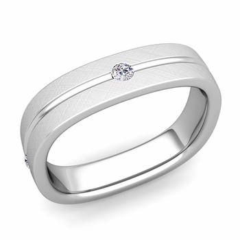 Diamond Wedding Anniversary Ring in Platinum Brushed Square Wedding Band, 5mm