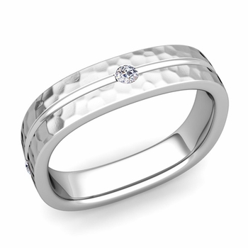 Diamond Wedding Anniversary Ring in Platinum Hammered Square Wedding Band, 5mm