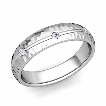 Diamond Wedding Anniversary Ring in Platinum Hammered Wave Wedding Band, 5mm