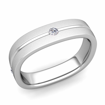 Diamond Wedding Anniversary Ring in Platinum Satin Square Wedding Band, 5mm