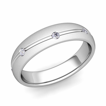 Diamond Wedding Anniversary Ring in Platinum Satin Wave Wedding Band, 5mm
