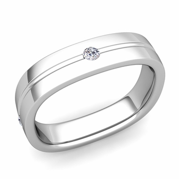 Diamond Wedding Anniversary Ring in Platinum Shiny Square Wedding Band, 5mm