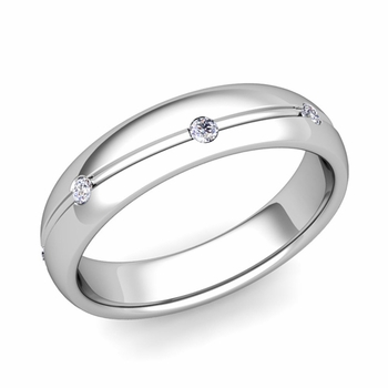 Diamond Wedding Anniversary Ring in Platinum Shiny Wave Wedding Band, 5mm
