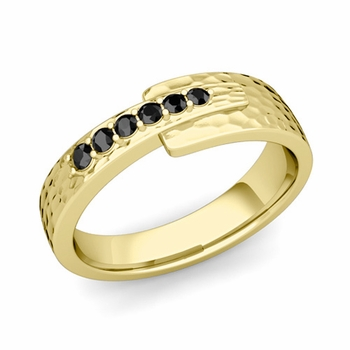 Embrace Love Black Diamond Wedding Ring in 18k Gold Hammered Ring, 6mm