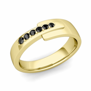 Embrace Love Black Diamond Wedding Ring in 18k Gold Shiny Ring, 6mm