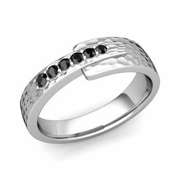 Embrace Love Black Diamond Wedding Ring in Platinum Hammered Ring, 6mm