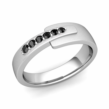 Embrace Love Black Diamond Wedding Ring in Platinum Satin Ring, 6mm