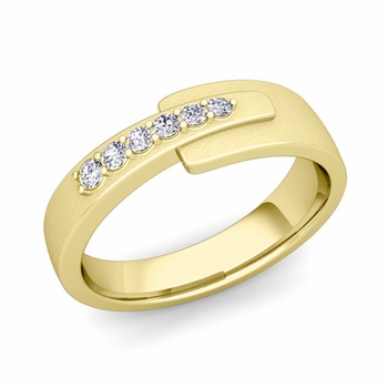 Embrace Love Diamond Wedding Anniversary Ring in 18k Gold Brushed Ring, 6mm