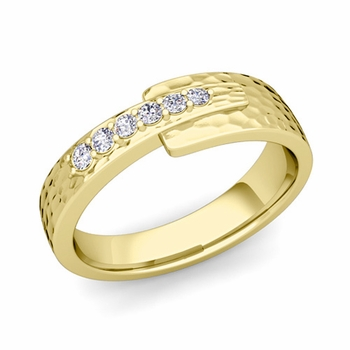 Embrace Love Diamond Wedding Anniversary Ring in 18k Gold Hammered Ring, 6mm