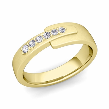 Embrace Love Diamond Wedding Anniversary Ring in 18k Gold Satin Ring, 6mm