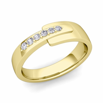 Embrace Love Diamond Wedding Anniversary Ring in 18k Gold Shiny Ring, 6mm