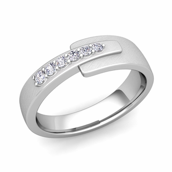 Embrace Love Diamond Wedding Anniversary Ring in Platinum Brushed Ring, 6mm