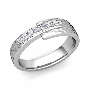 Embrace Love Diamond Wedding Anniversary Ring in Platinum Hammered Ring, 6mm