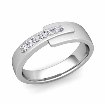 Embrace Love Diamond Wedding Anniversary Ring in Platinum Satin Ring, 6mm