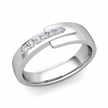 Embrace Love Diamond Wedding Anniversary Ring in Platinum Shiny Ring, 6mm