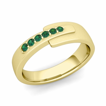 Embrace Love Emerald Wedding Anniversary Ring in 18k Gold Brushed Ring, 6mm