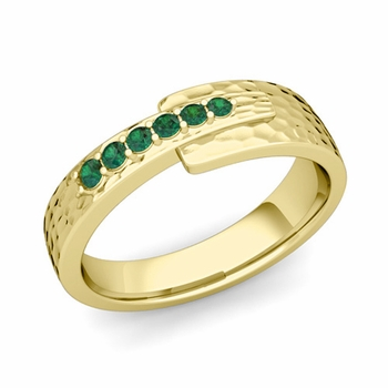 Embrace Love Emerald Wedding Anniversary Ring in 18k Gold Hammered Ring, 6mm