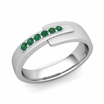 Embrace Love Emerald Wedding Anniversary Ring in Platinum Brushed Ring, 6mm