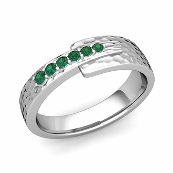 Embrace Love Emerald Wedding Anniversary Ring in Platinum Hammered Ring, 6mm