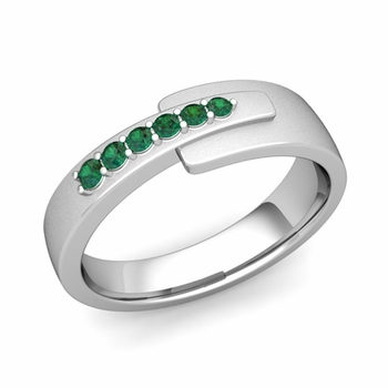Embrace Love Emerald Wedding Anniversary Ring in Platinum Satin Ring, 6mm