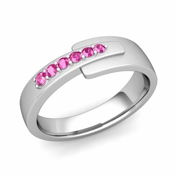 Embrace Love Pink Sapphire Wedding Ring in 14k Gold Satin Ring, 6mm