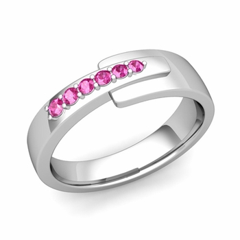 Embrace Love Pink Sapphire Wedding Ring in 14k Gold Shiny Ring, 6mm