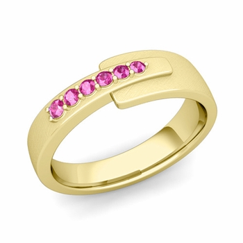 Embrace Love Pink Sapphire Wedding Ring in 18k Gold Brushed Ring, 6mm