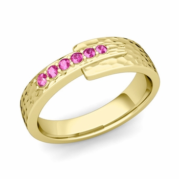 Embrace Love Pink Sapphire Wedding Ring in 18k Gold Hammered Ring, 6mm