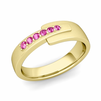 Embrace Love Pink Sapphire Wedding Ring in 18k Gold Satin Ring, 6mm