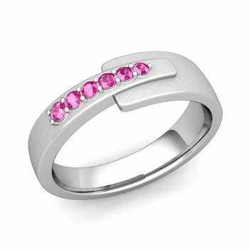 Embrace Love Pink Sapphire Wedding Ring in Platinum Brushed Ring, 6mm