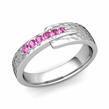 Embrace Love Pink Sapphire Wedding Ring in Platinum Hammered Ring, 6mm